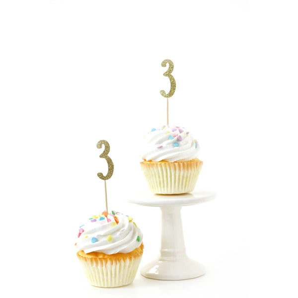Cake & Cupcake Toppers - Number 3 Gold Glitter Cupcake Toppers