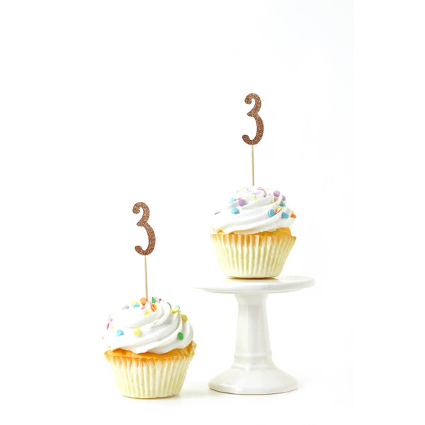 Cake & Cupcake Toppers - Number 3 Rose Gold Glitter Cupcake Toppers