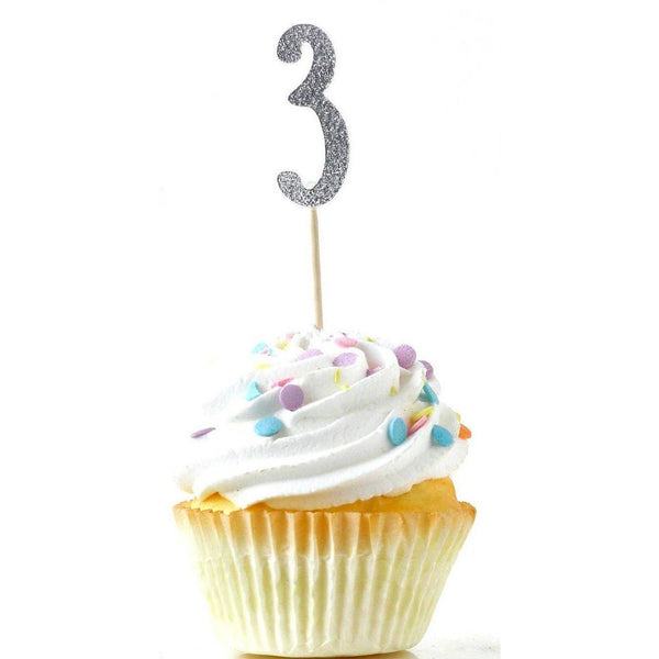 Number 3 Silver Glitter Cupcake Toppers, Cake & Cupcake Toppers, Jamboree