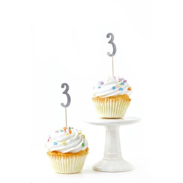 Cake & Cupcake Toppers - Number 3 Silver Glitter Cupcake Toppers