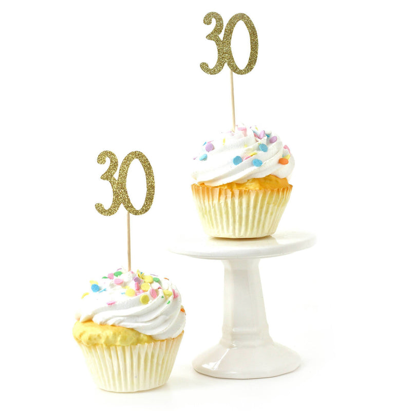 Number 30 Gold Glitter Cupcake Toppers, Cake & Cupcake Toppers, Jamboree