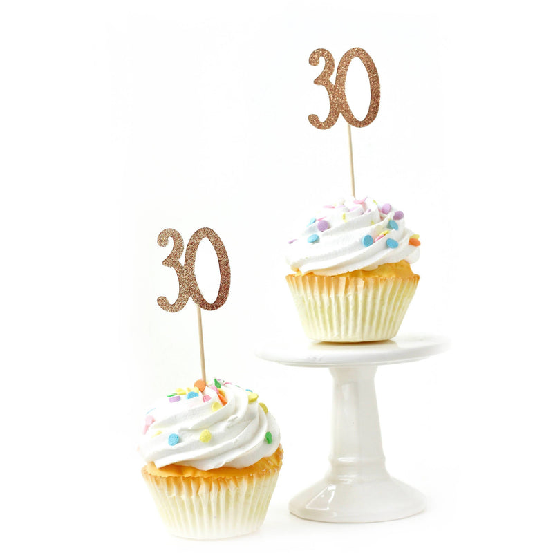 Number 30 Rose Gold Glitter Cupcake Toppers, Cake & Cupcake Toppers, Jamboree
