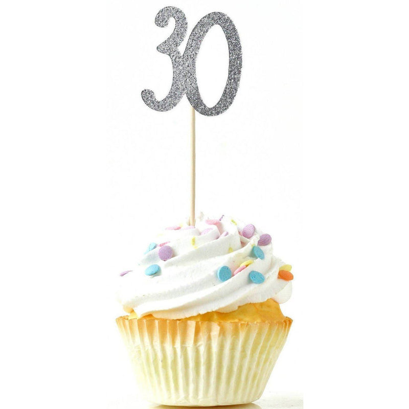 Number 30 Silver Glitter Cupcake Toppers, Cake & Cupcake Toppers, Jamboree