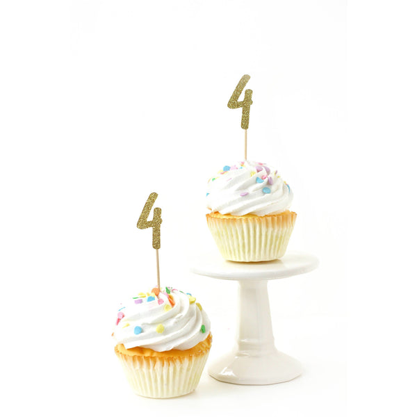 Number 4 Gold Glitter Cupcake Toppers, Cake & Cupcake Toppers, Jamboree