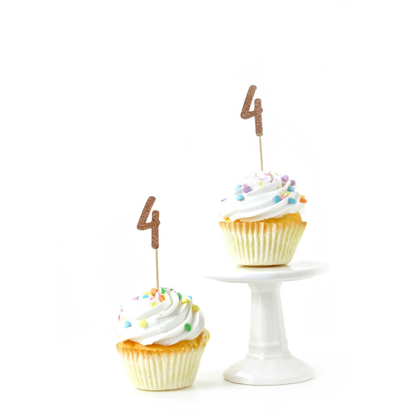 Number 4 Rose Gold Glitter Cupcake Topper, Cake & Cupcake Toppers, Jamboree
