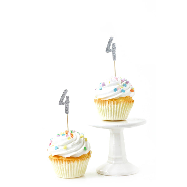 Cake & Cupcake Toppers - Number 4 Silver Glitter Cupcake Toppers