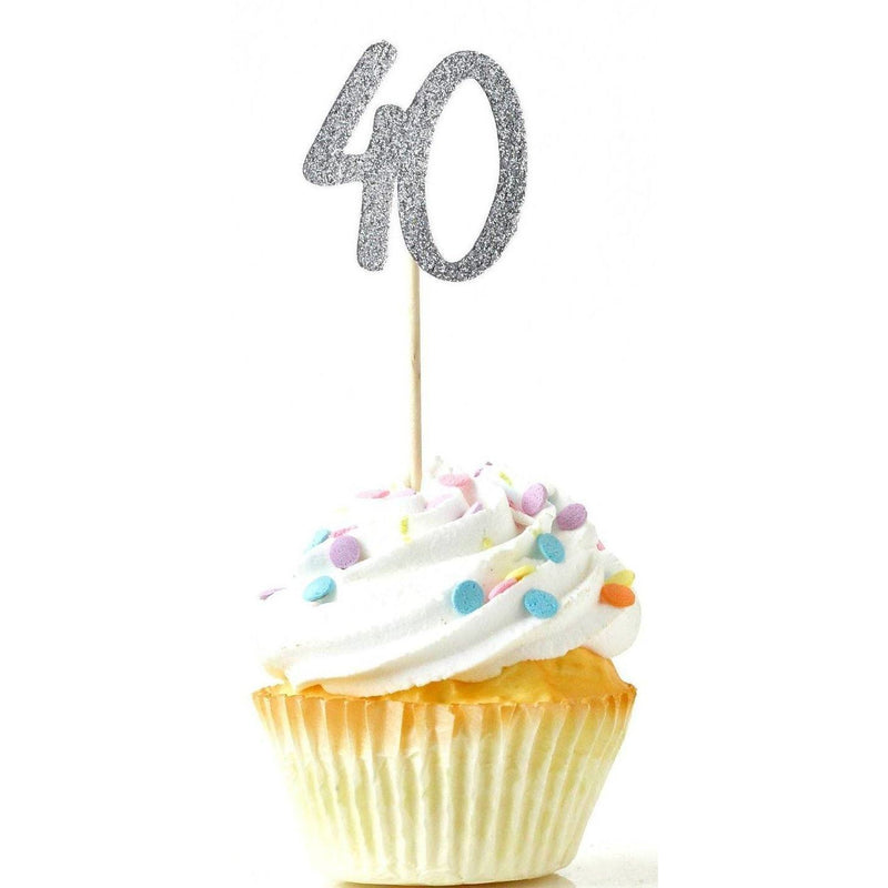 Number 40 Silver Glitter Cupcake Toppers, Cake & Cupcake Toppers, Jamboree