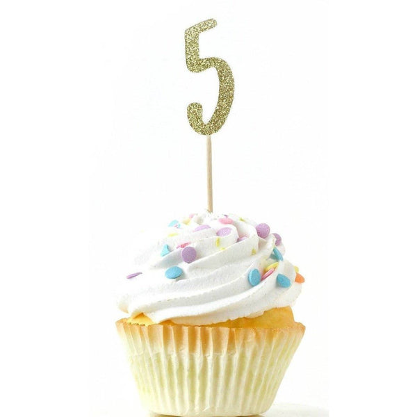 Cake & Cupcake Toppers - Number 5 Gold Glitter Cupcake Toppers