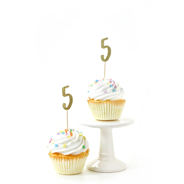 Number 5 Gold Glitter Cupcake Toppers, Cake & Cupcake Toppers, Jamboree