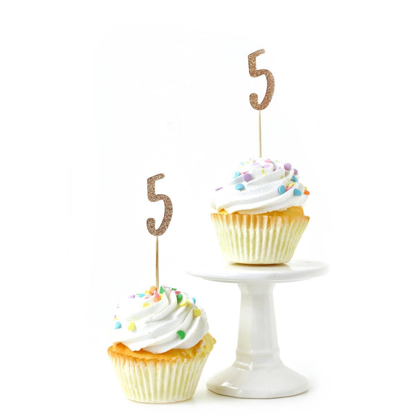 Cake & Cupcake Toppers - Number 5 Rose Gold Glitter Cupcake Toppers