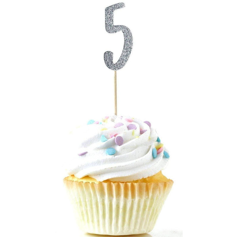 Number 5 Silver Glitter Cupcake Toppers, Cake & Cupcake Toppers, Jamboree