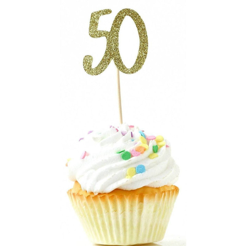 Number 50 Gold Glitter Cupcake Toppers, Cake & Cupcake Toppers, Jamboree