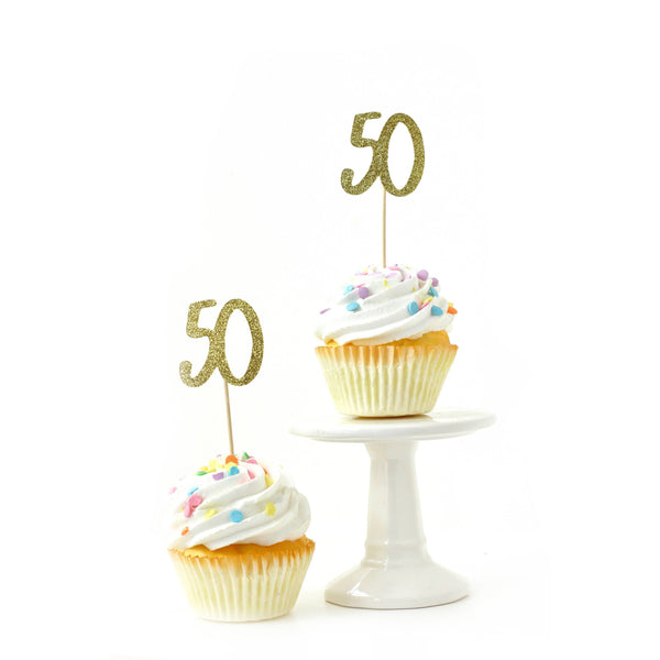 Cake & Cupcake Toppers - Number 50 Gold Glitter Cupcake Toppers