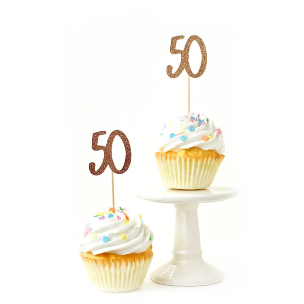 Cake & Cupcake Toppers - Number 50 Rose Gold Glitter Cupcake Toppers