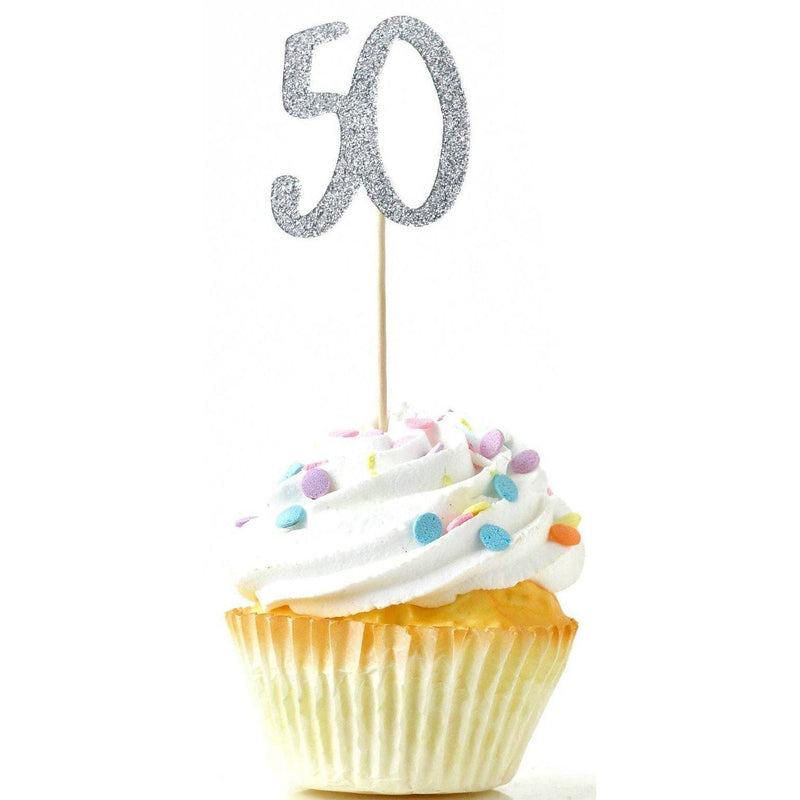 Number 50 Silver Glitter Cupcake Toppers, Cake & Cupcake Toppers, Jamboree