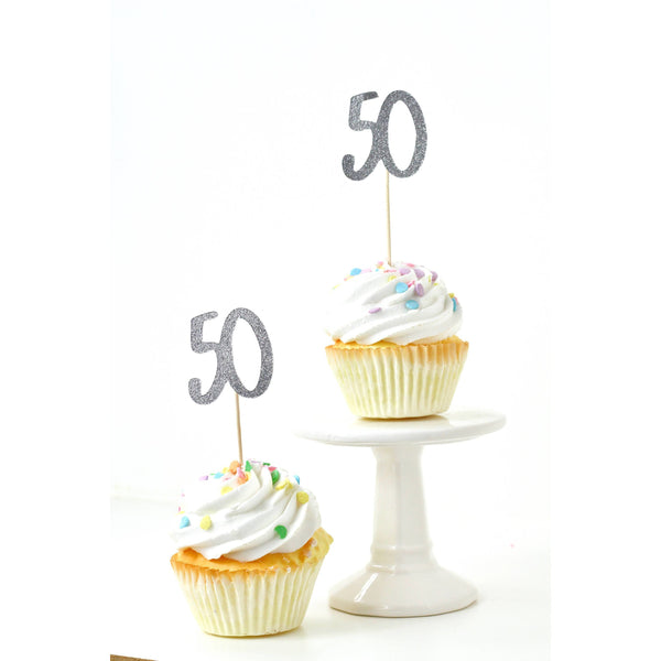 Cake & Cupcake Toppers - Number 50 Silver Glitter Cupcake Toppers