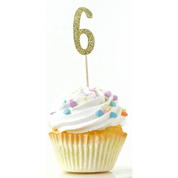 Number 6 Gold Glitter Cupcake Toppers, Cake & Cupcake Toppers, Jamboree