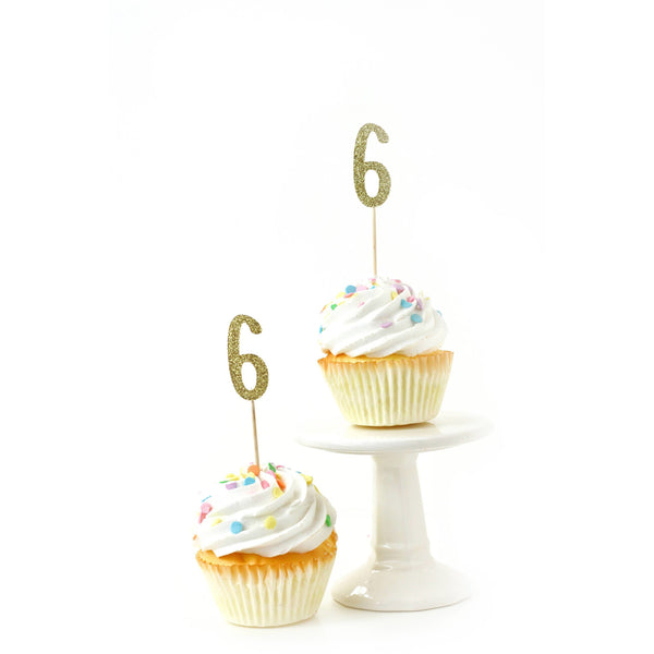 Cake & Cupcake Toppers - Number 6 Gold Glitter Cupcake Toppers