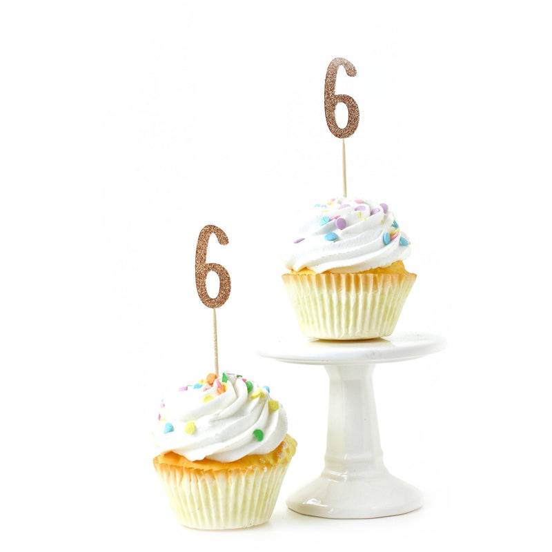 Number 6 Rose Gold Glitter Cupcake Toppers, Cake & Cupcake Toppers, Jamboree