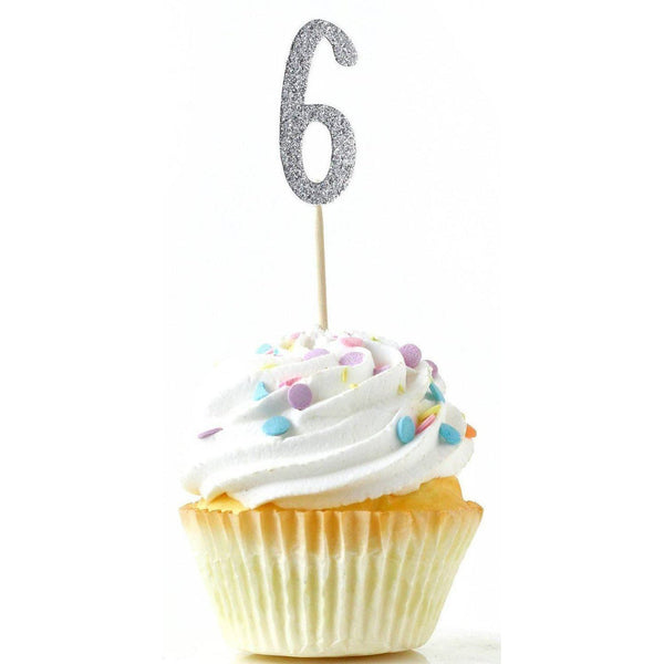 Number 6 Silver Glitter Cupcake Toppers, Cake & Cupcake Toppers, Jamboree