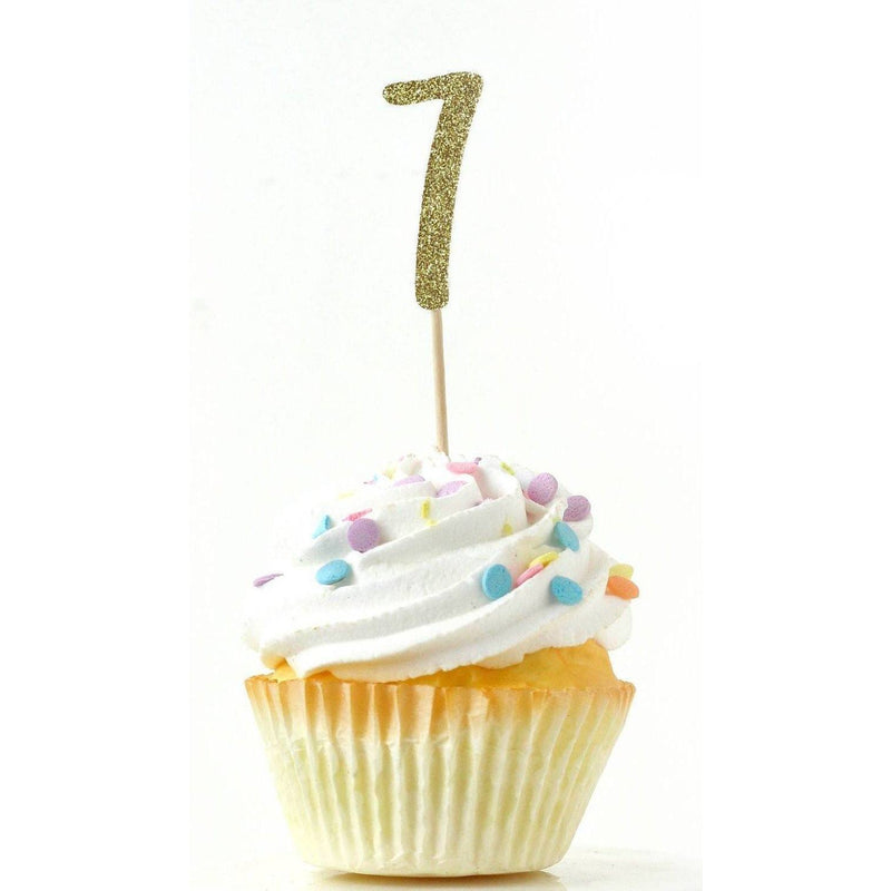 Number 7 Gold Glitter Cupcake Toppers, Cake & Cupcake Toppers, Jamboree