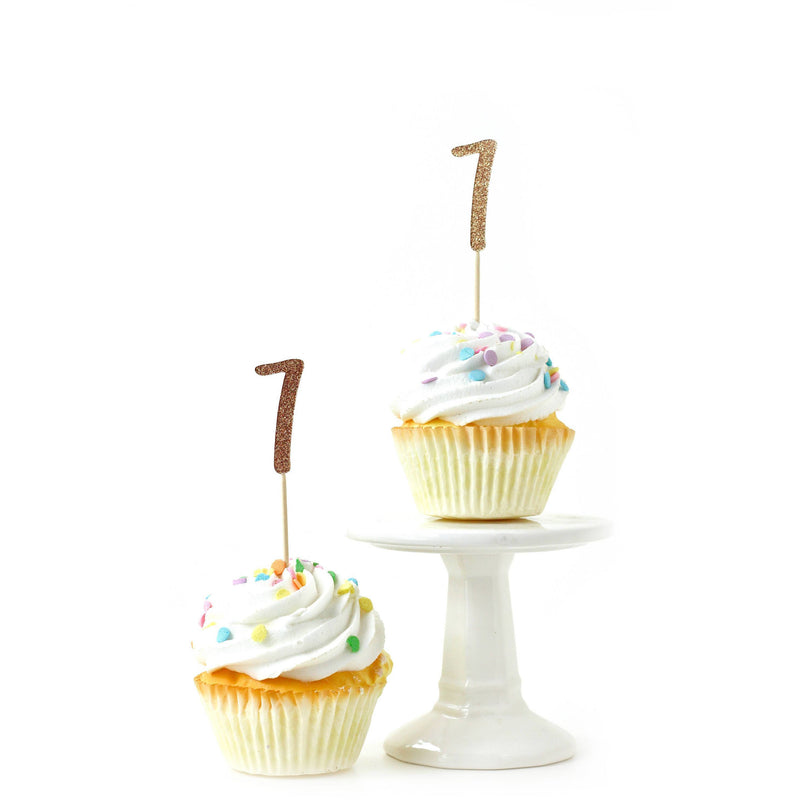 Cake & Cupcake Toppers - Number 7 Rose Gold Glitter Cupcake Toppers