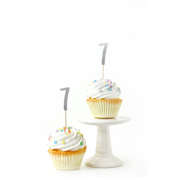 Cake & Cupcake Toppers - Number 7 Silver Glitter Cupcake Toppers