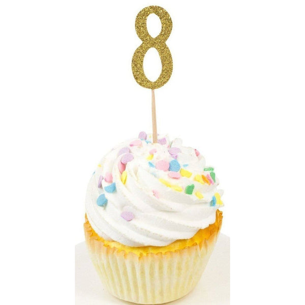 Cake & Cupcake Toppers - Number 8 Gold Glitter Cupcake Toppers