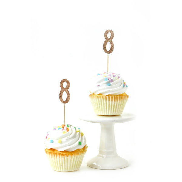 Cake & Cupcake Toppers - Number 8 Rose Gold Glitter Cupcake Toppers