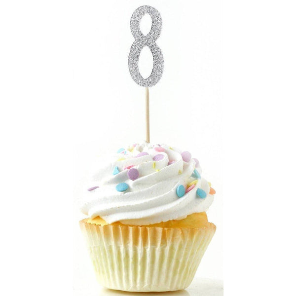 Number 8 Silver Glitter Cupcake Toppers, Cake & Cupcake Toppers, Jamboree