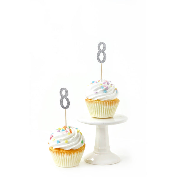 Cake & Cupcake Toppers - Number 8 Silver Glitter Cupcake Toppers
