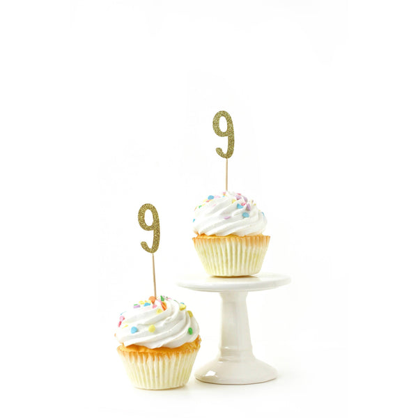Cake & Cupcake Toppers - Number 9 Gold Glitter Cupcake Toppers