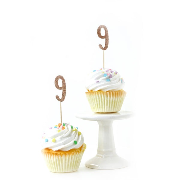 Cake & Cupcake Toppers - Number 9 Rose Gold Glitter Cupcake Toppers