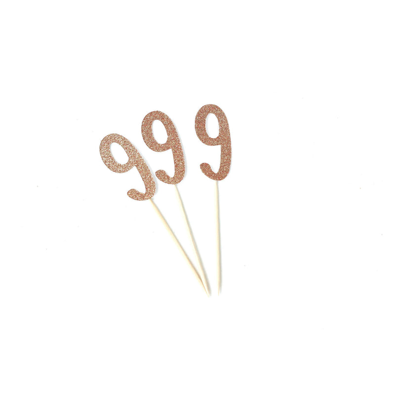 Number 9 Rose Gold Glitter Cupcake Toppers, Cake & Cupcake Toppers, Jamboree