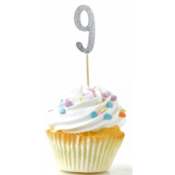 Cake & Cupcake Toppers - Number 9 Silver Glitter Cupcake Toppers