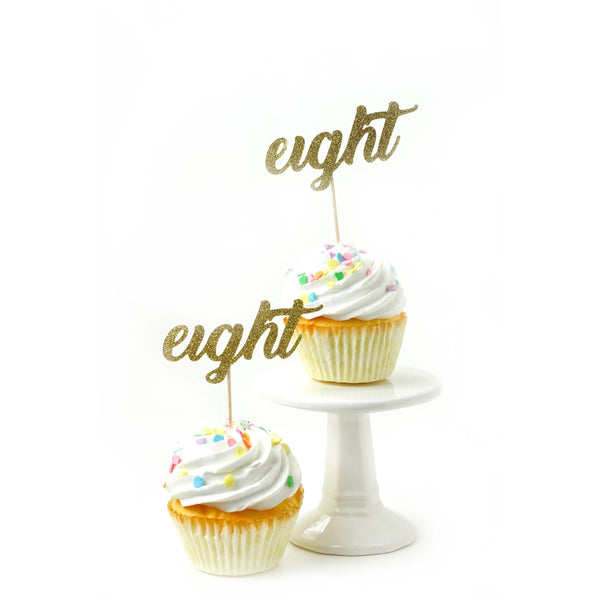 Cake & Cupcake Toppers - Number Eight Gold Glitter Cupcake Toppers