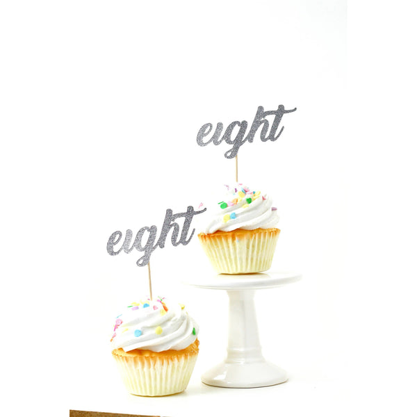 Cake & Cupcake Toppers - Number Eight Silver Glitter Cupcake Toppers