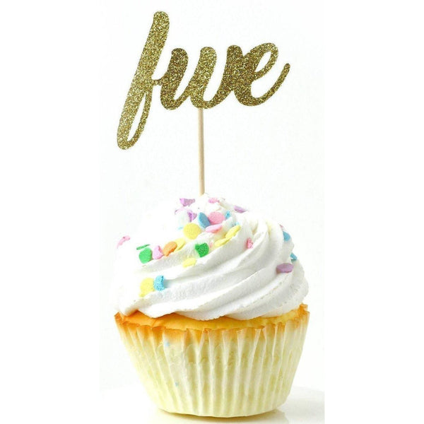 Number Five Gold Glitter Cupcake Toppers, Cake & Cupcake Toppers, Jamboree