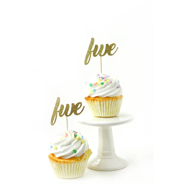 Cake & Cupcake Toppers - Number Five Gold Glitter Cupcake Toppers