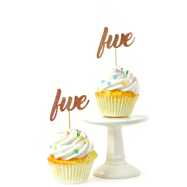 Cake & Cupcake Toppers - Number Five Rose Gold Glitter Cupcake Toppers