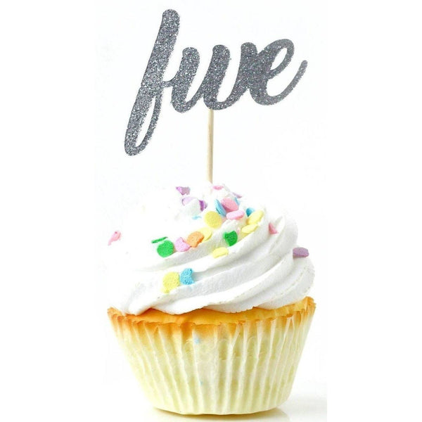 Cake & Cupcake Toppers - Number Five Silver Glitter Cupcake Toppers