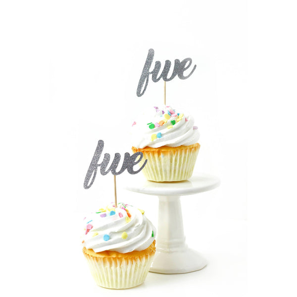Number Five Silver Glitter Cupcake Toppers, Cake & Cupcake Toppers, Jamboree