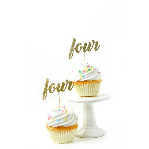 Cake & Cupcake Toppers - Number Four Gold Glitter Cupcake Toppers