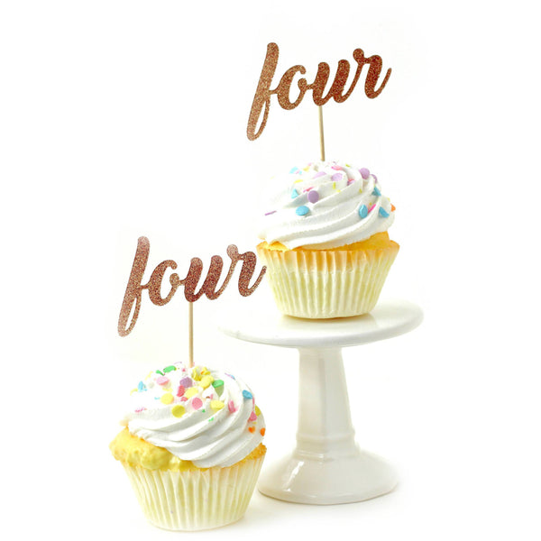 Cake & Cupcake Toppers - Number Four Rose Gold Glitter Cupcake Toppers