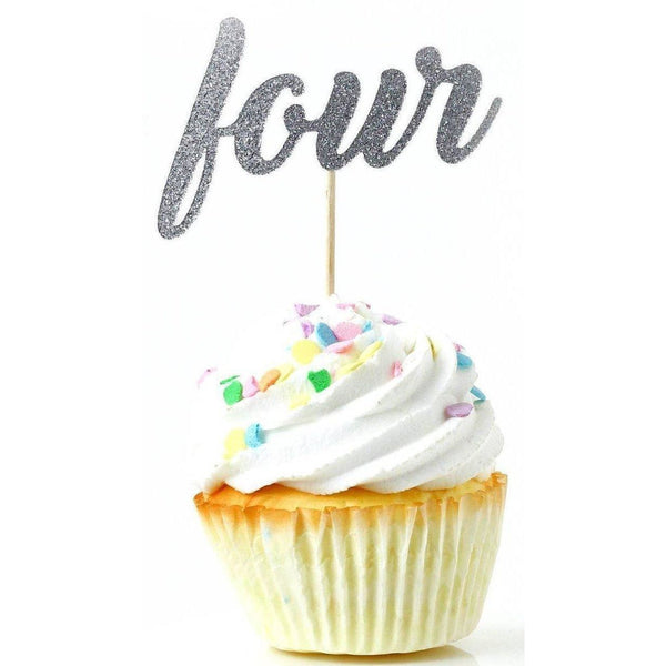 Cake & Cupcake Toppers - Number Four Silver Glitter Cupcake Toppers