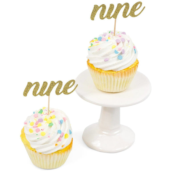 Cake & Cupcake Toppers - Number Nine Gold Glitter Cupcake Toppers