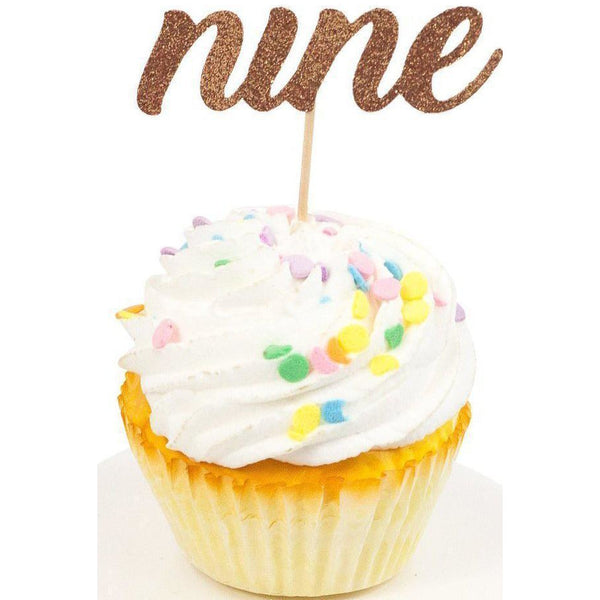 Cake & Cupcake Toppers - Number Nine Rose Gold Glitter Cupcake Toppers