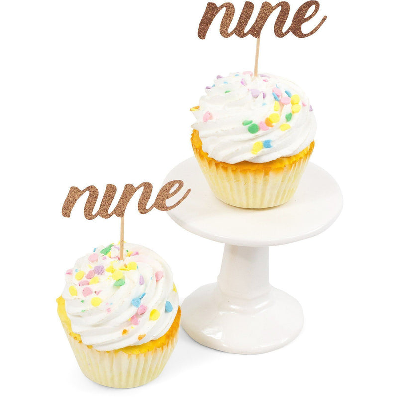 Number Nine Rose Gold Glitter Cupcake Toppers, Cake & Cupcake Toppers, Jamboree