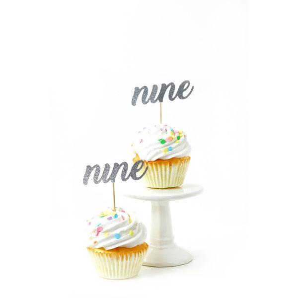 Cake & Cupcake Toppers - Number Nine Silver Glitter Cupcake Toppers