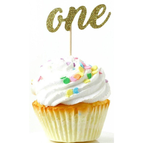 Cake & Cupcake Toppers - Number One Gold Glitter Cupcake Toppers